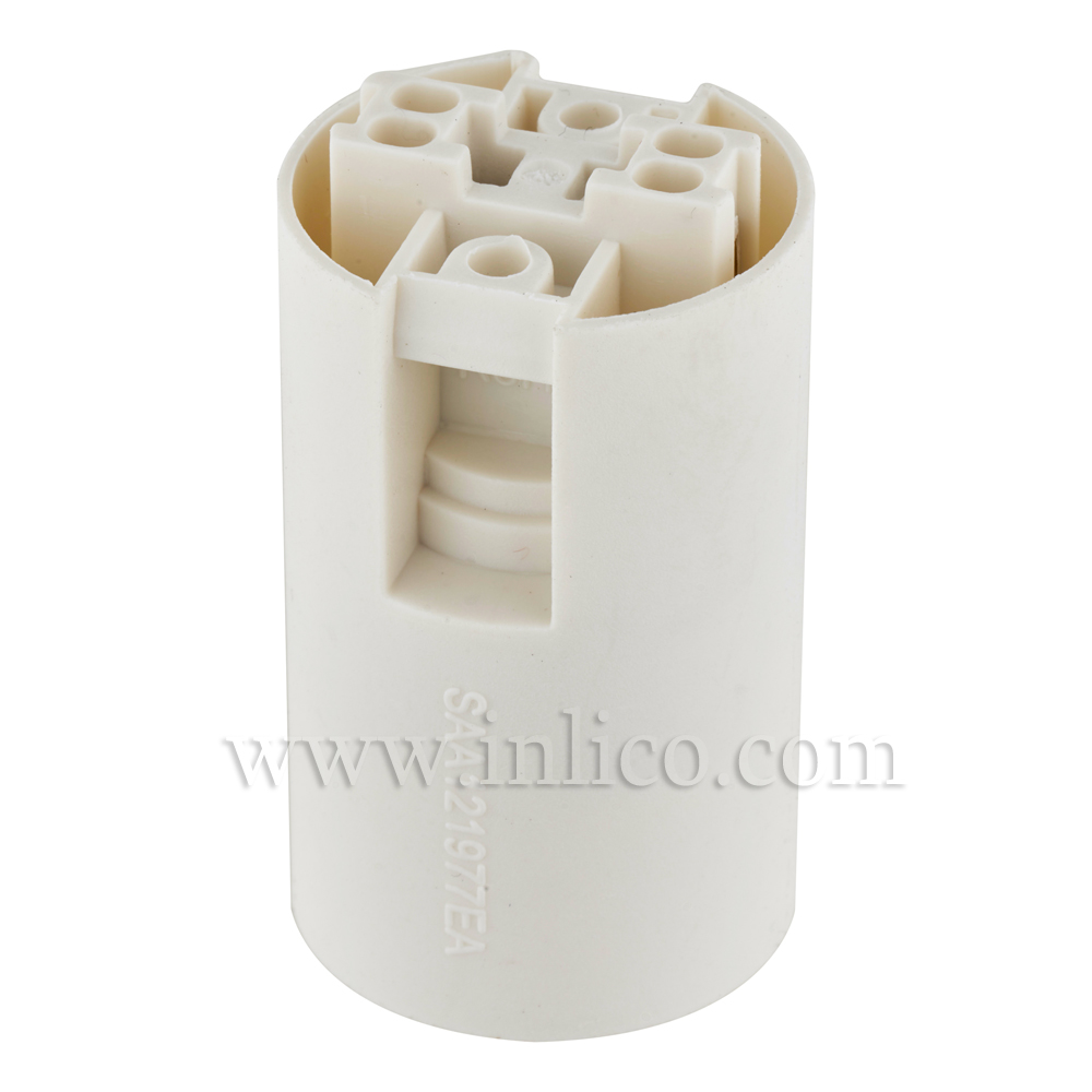 E14 PLAIN SKIRT T210 WHITE LAMPHOLDER WITH PUSH FIT TERMINALS  THERMOPLASTIC  APPROVAL ENEC05 TO EN60238:2004