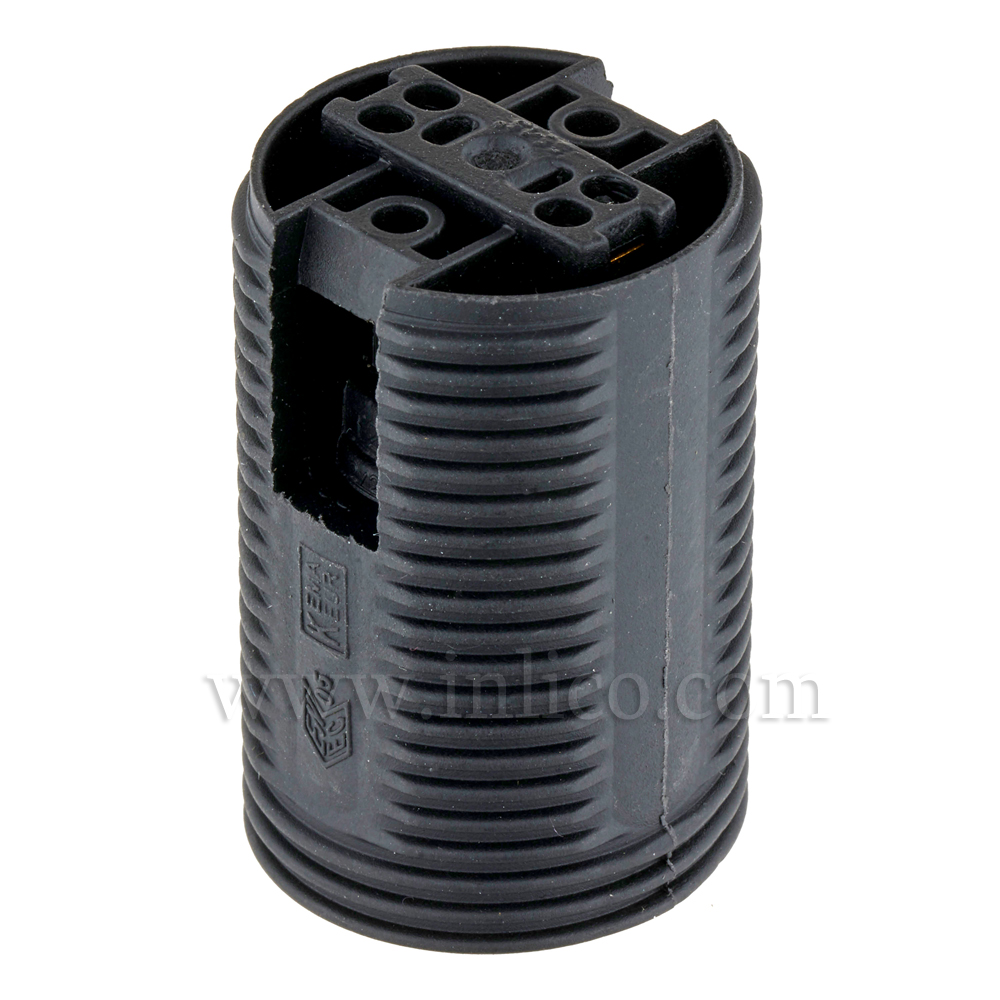 E14 FULLY THREADED SKIRT T210 BLACK LAMPHOLDER WITH PUSH FIT TERMINALS THERMOPLASTIC  APPROVAL ENEC05 TO EN60238:2004