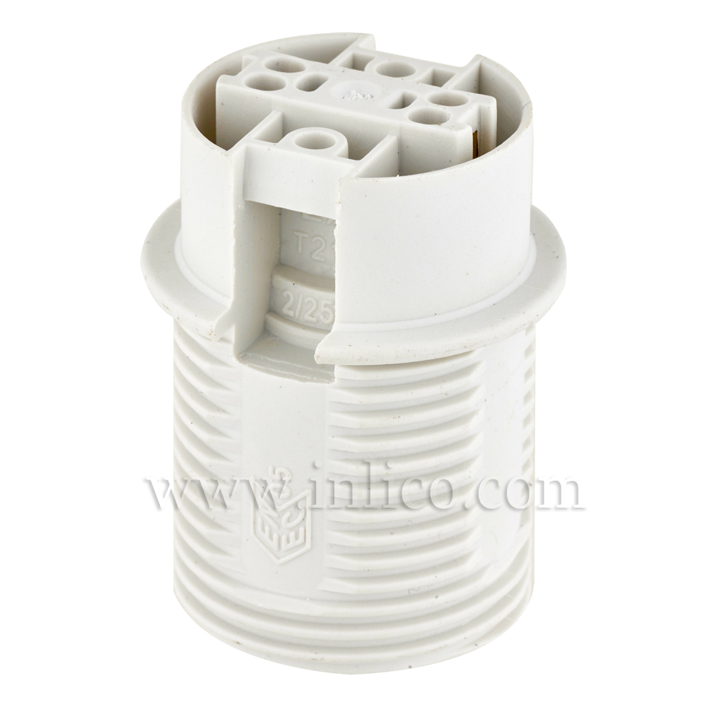 E14 HALF THREADED SKIRT T210 WHITE LAMPHOLDER WITH PUSH FIT TERMINALS THERMOPLASTIC  APPROVAL ENEC05 TO EN60238:2004