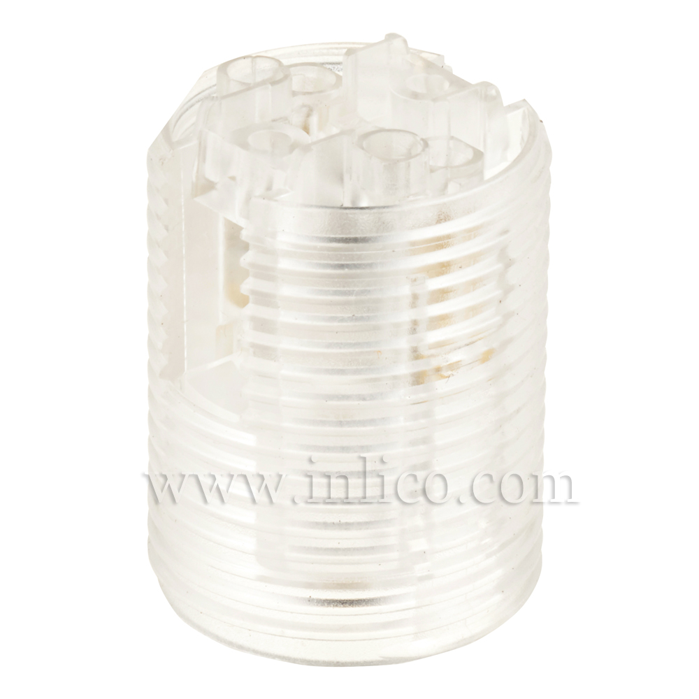 E12 FULLY THREADED SKIRT T210 CLEAR LAMPHOLDER WITH PUSH FIT TERMINALS - THERMOPLASTIC  UL LISTED FILE NUMBER E179377