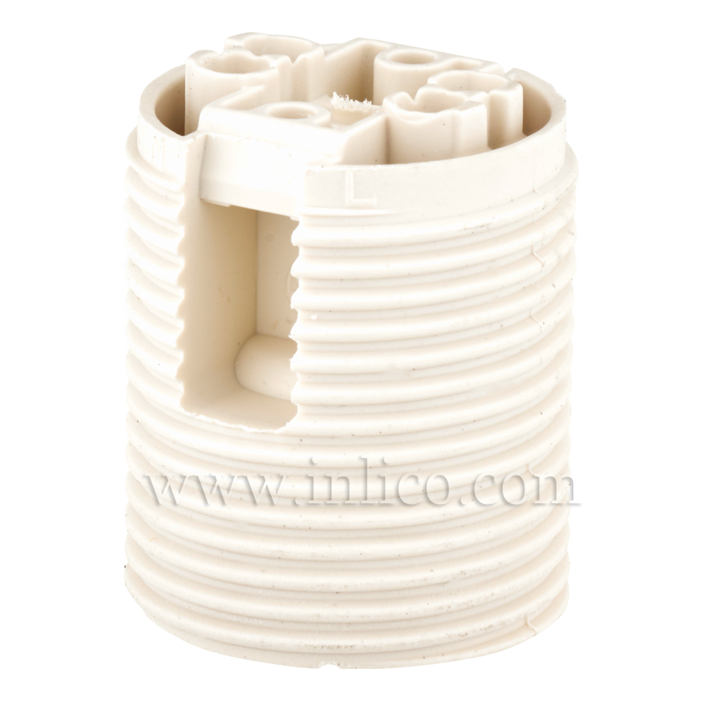 E12 FULLY THREADED SKIRT T210 WHITE LAMPHOLDER WITH PUSH FIT TERMINALS THERMOPLASTIC   UL APPROVED E86201