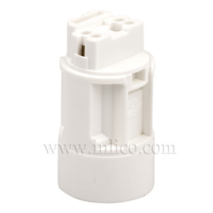 E14 CANDLE LAMPHOLDER WHITE WITH PUSH FIT TERMINALS 24MM DIA. X 42MM