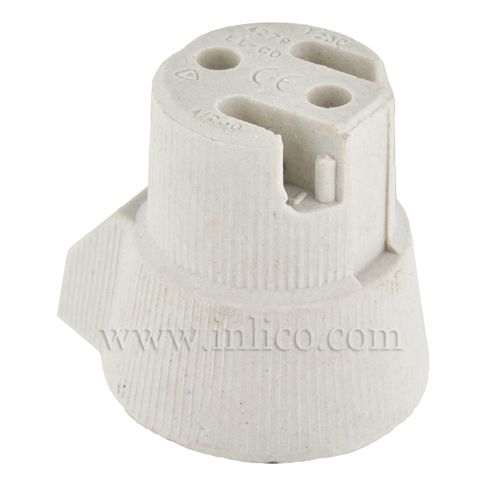 E27 PORCELAIN LAMPHOLDER WITH ONE HOLE SIDE FIXING