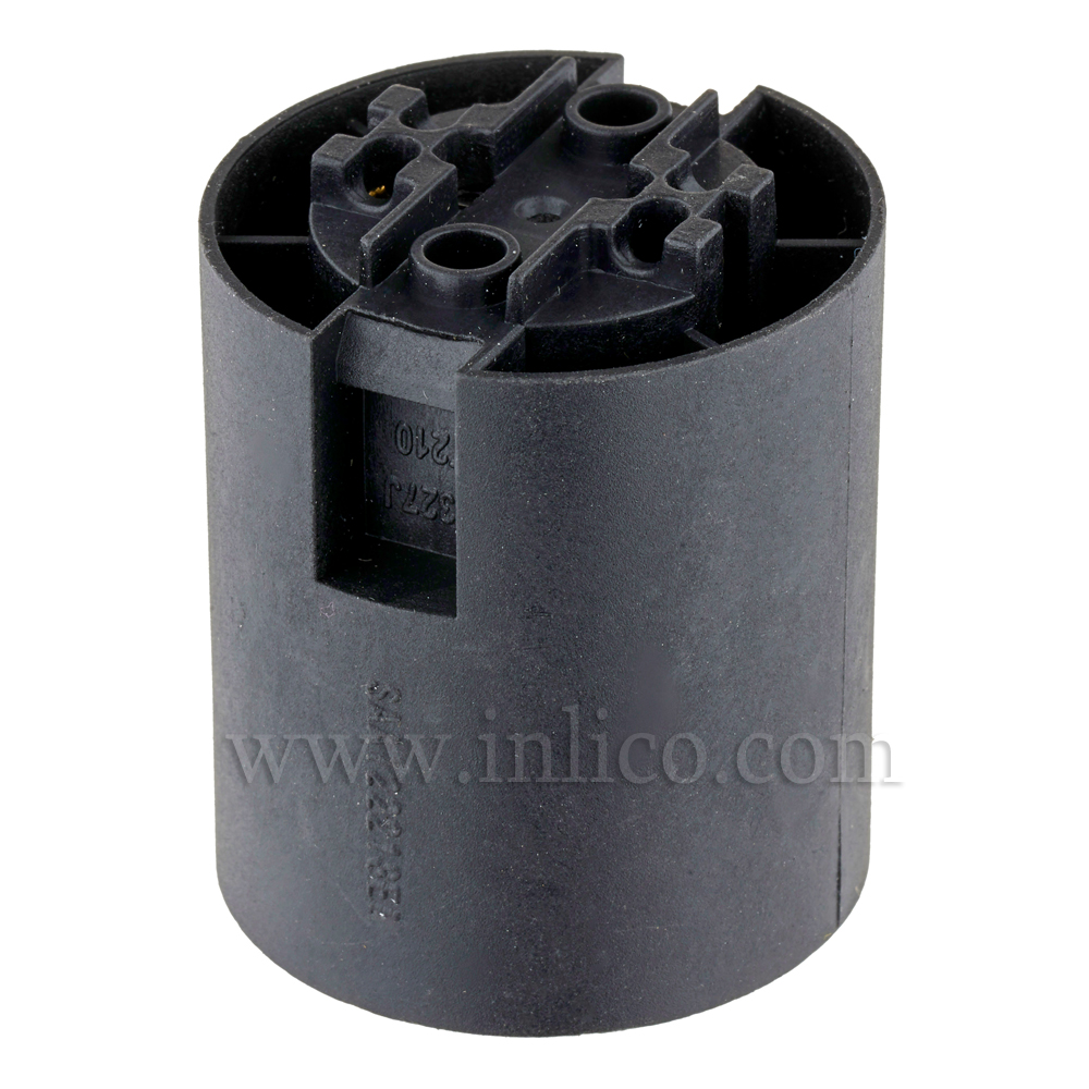E27 LAMPHOLDER T210 BLACK PLAIN SKIRT WITH PUSHFIT TERMINALS  APPROVAL ENEC05 TO EN60238:2004