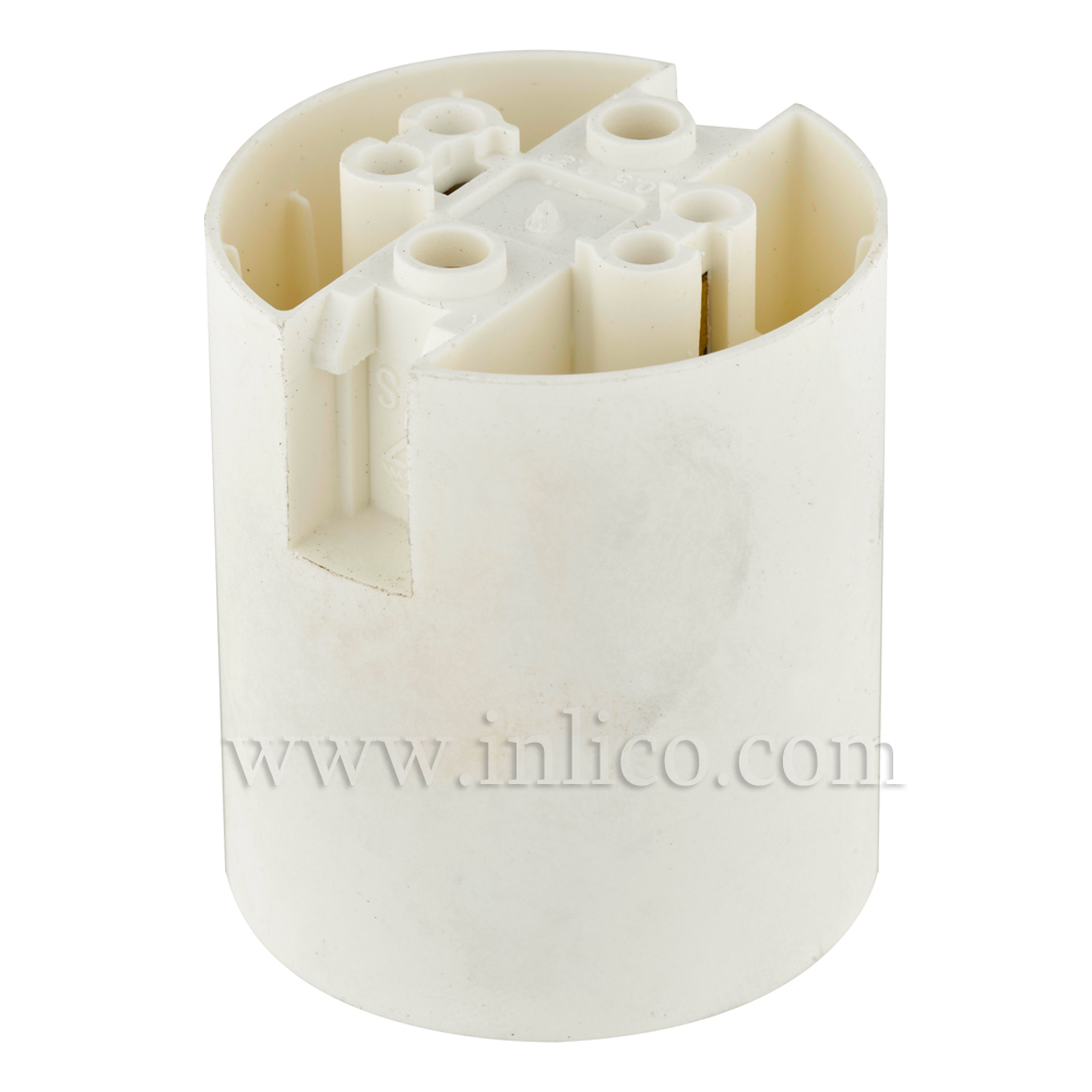 E27 LAMPHOLDER T210 WHITE PLAIN SKIRT WITH PUSHFIT TERMINALS APPROVAL ENEC05 TO EN60238:2004