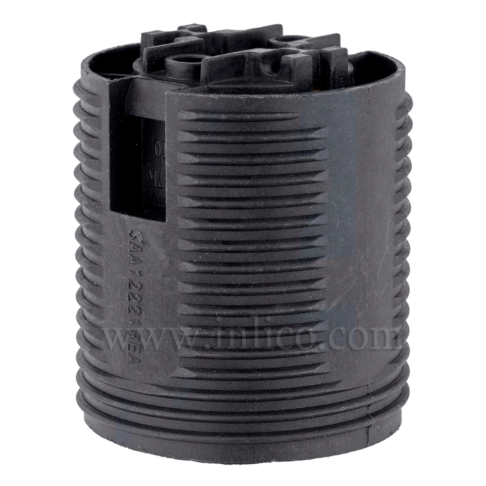 E27 LAMPHOLDER T210 BLACK FULLY THREADED  SKIRT WITH PUSHFIT TERMINALS APPROVAL ENEC05 TO EN60238:2004