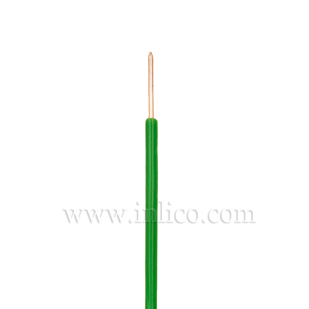GREEN HR SINGLE CORE .8MM DIA SOLID PVC INSULATED 85 DEG C 0.5MM SQ CROSS SECTION H05V2-U BS6141:1991