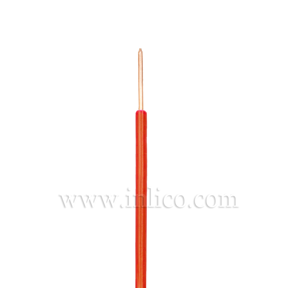 ORANGE HR SINGLE CORE .8MM DIA SOLID PVC INSULATED 85 DEG C 0.5MM SQ CROSS SECTION H05V2-U BS6141:1991