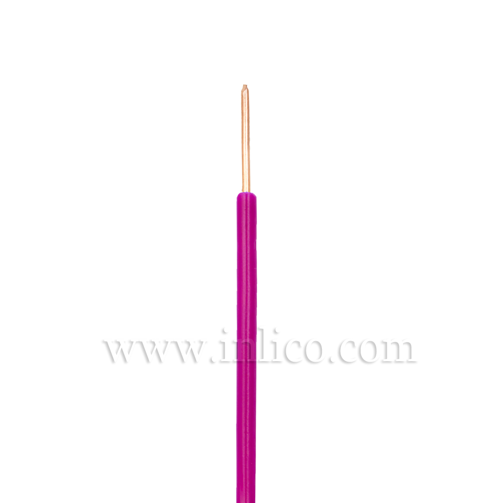 VIOLET HR SINGLE CORE .8MM DIA SOLID PVC INSULATED 85 DEG C 0.5MM SQ CROSS SECTION H05V2-U BS6141:1991