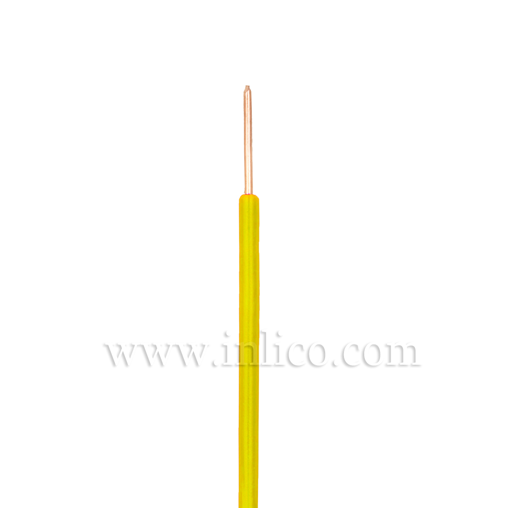 YELLOW HR SINGLE CORE .8MM DIA SOLID PVC INSULATED 85 DEG C 0.5MM SQ CROSS SECTION H05V2-U BS6141:1991