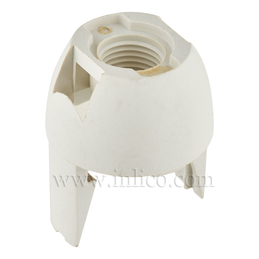 10MM PLASTIC ENTRY SNAP FIT DOME WHITE FOR E14 THERMOPLASTIC LAMPHOLDER
