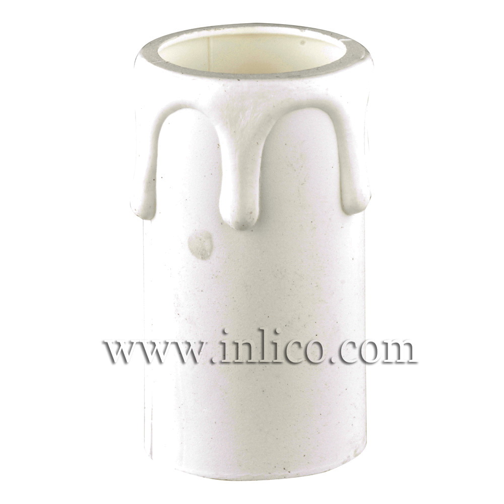 CANDLE DRIP 34ID X 80MM WHITE PLASTIC
