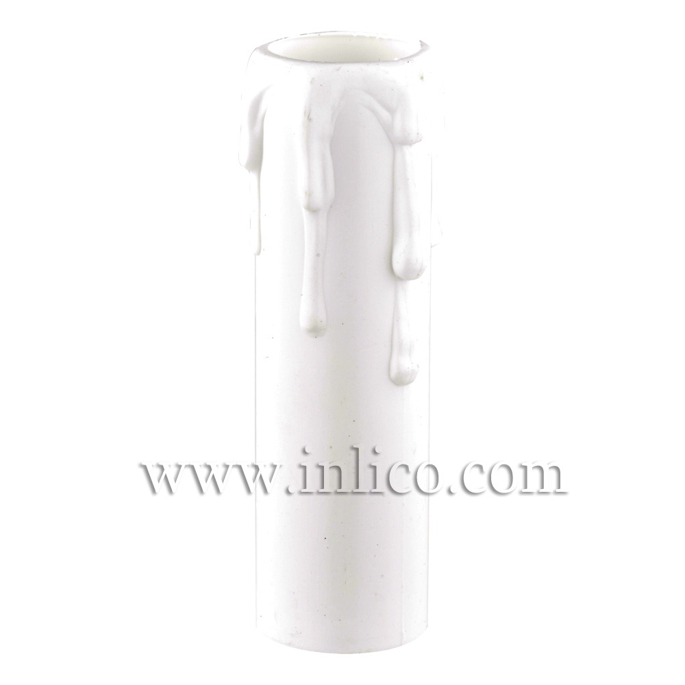 CANDLE DRIP 23ID X 65MM WHITE PLASTIC