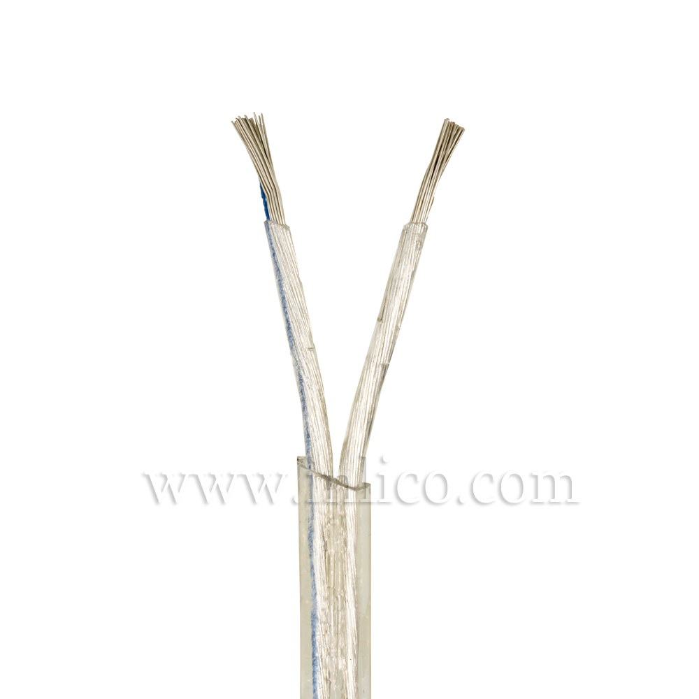Clear Cable Flat 2 core x 0.75mm Outers and Inners in transparent PVC Tinned Copper Conductors VDE Approved 0281-5:2002-09