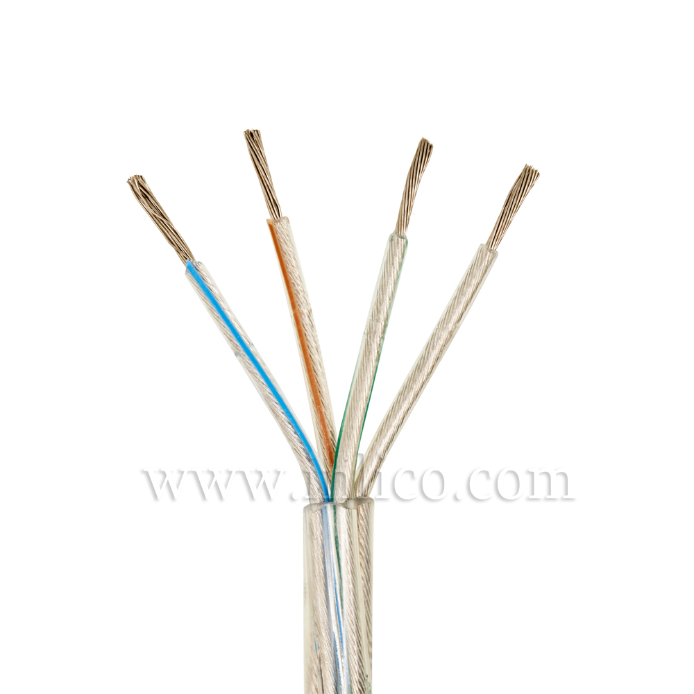 Clear Cable 4 core x 0.75mm Inners in transparent PVC Tinned Copper Conductors CEI 20-20 BT 72/23 CEE and 93/69 CEE (200m reel)