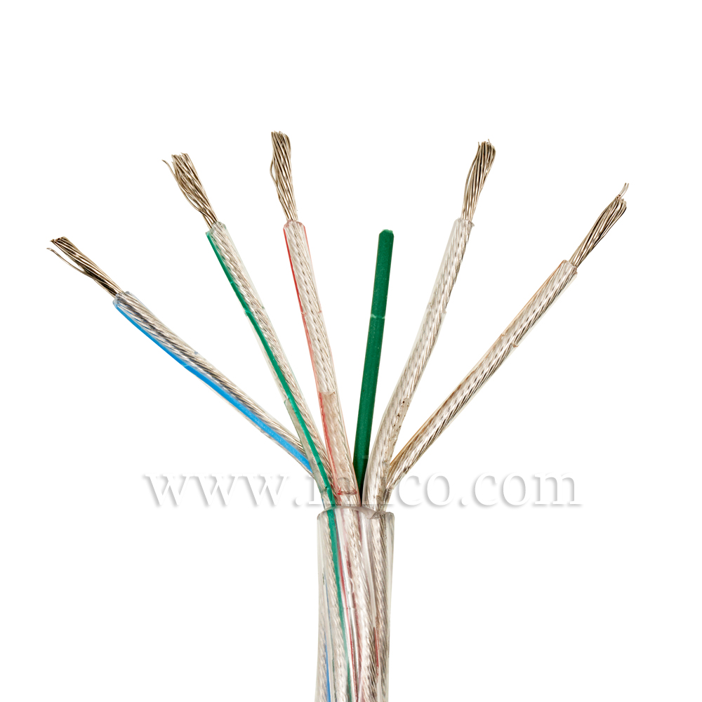 Clear Cable 5 core x 0.75mm Inners in transparent PVC Tinned Copper Conductors. 200M reel CEI 20-20 BT 72/23 CEE and 93/69 CEE.