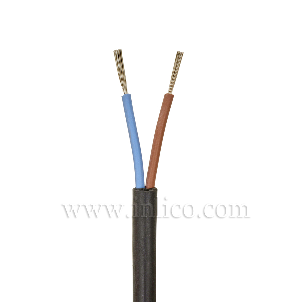 2 CORE x.75 ROUND SILICON BLACK CABLE SIHF -40 DEG TO 180 DEG C SILICON INSULATED MANUFACTURED TO SIAF STANDARD BS EN 60228:2005